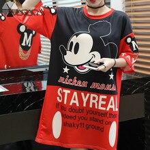 New Summer Dress Womens Cute Sexy Dresses Harajuku Print Short Sleeve Loose Casual Mini T Shirt Mickey Mouse Women