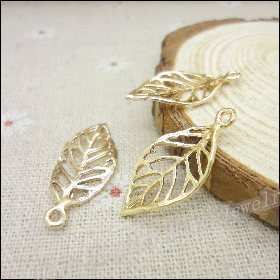Wholesale 50pcs kc gold color charms leaves pendant fit bracelets wholesale 50pcs kc gold color charms leaves pendant fit bracelets necklace diy metal jewelry making aloadofball Image collections