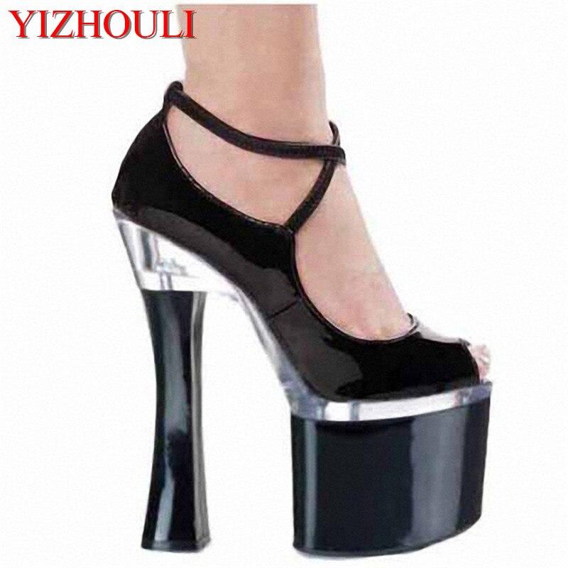 Les fabricants vendent de nouveaux monocristaux avec des chaussures de bouche de poisson 18 cm à talons hauts chaussures à plate-forme imperméable à l'eau