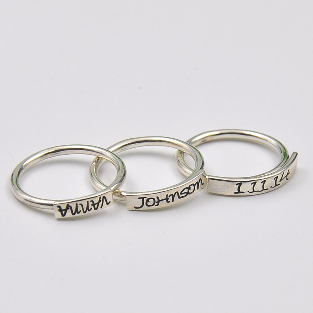 wholesale sterling silver stacking ring custom name. Black Bedroom Furniture Sets. Home Design Ideas