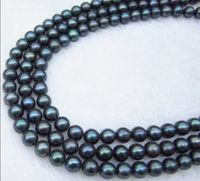 FREE SHIPPING14K GENUINE AAA 9 10MM Black Tahitian Cultured PEARL NECKLACE 50 INCH A0511