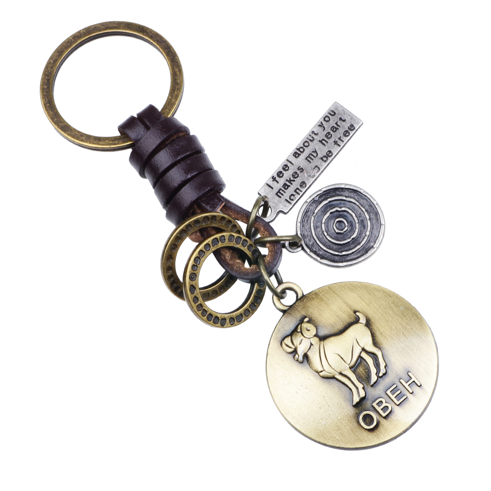 12 Constellations Keychain Zodiac Cowhide Key Ring Retro Lovers Key Chain Llaveros Virgo Aries Sleutelhanger Porte Clef	2019 New