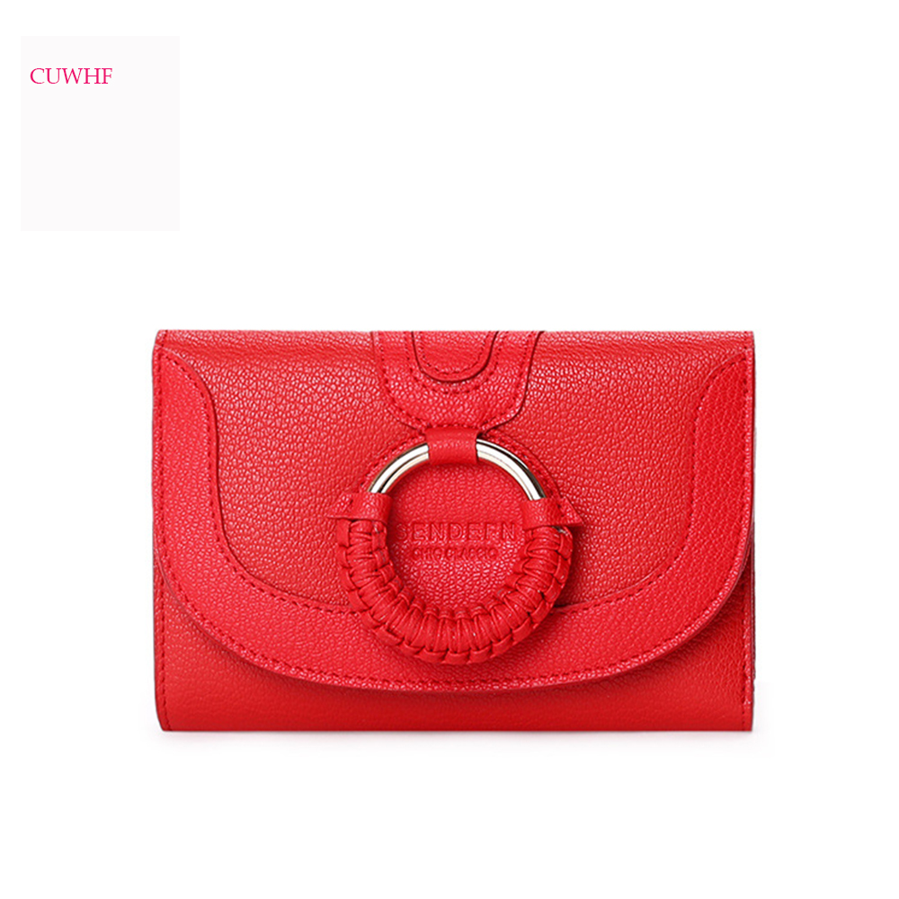 CUWHF Fashion new personality woven leather Lady Wallet Short Women Wallets Mini Money Purses Small Fold Purse Cute red wallet