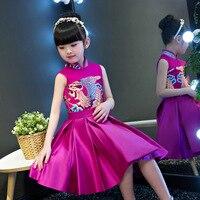 2018 Girl Cheongsam Satin Dress Traditional Fashion Elegant Chinese New Year Costume Purple Kids Cheongsams Wedding Qipao