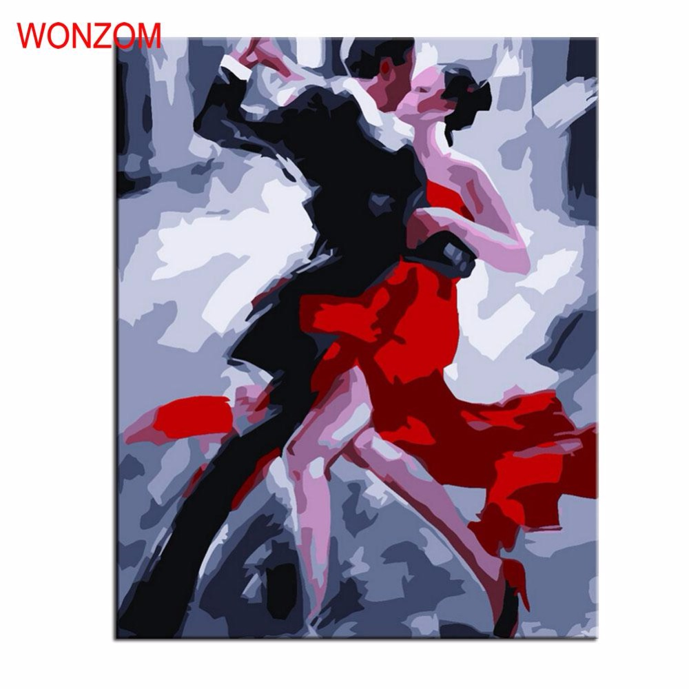 Couple Tango Painting By Numbers DIY HandPainted Canvas Pictures For Home Decor Frameless Christmas Gift Coloring By Numbers