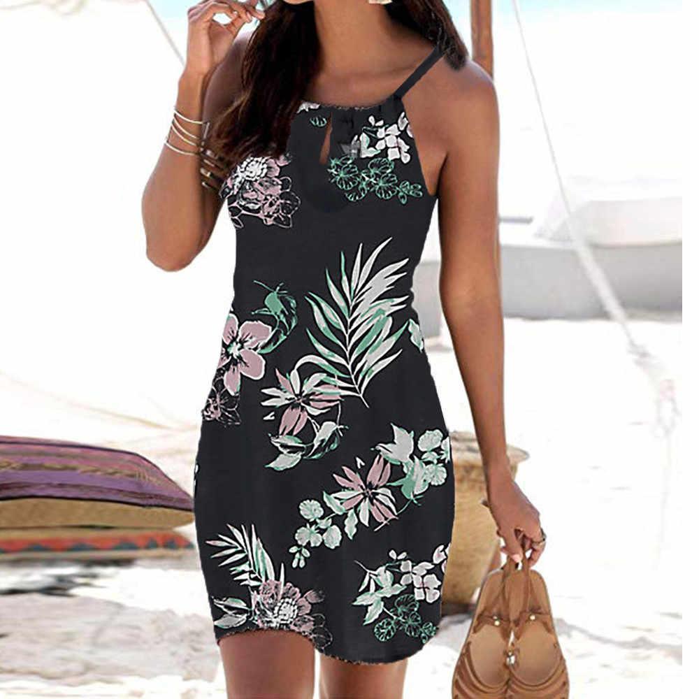 cd5bafc3bd Woman's Summer Strap Beach Woven Belt O Neck Print Light Color Dress ...