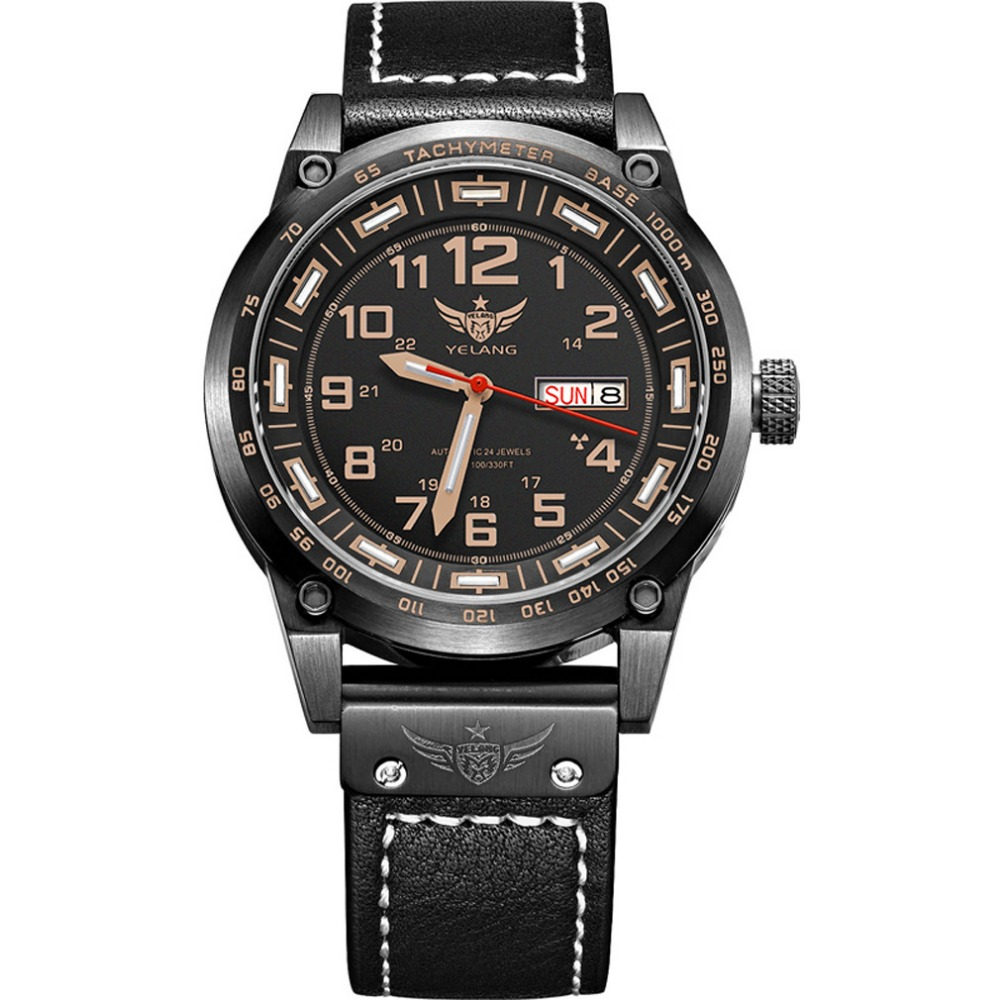 YELANG V1015 upgrade version khaki number tritium gas green luminous men automatic mechanical business watch-leather watchband yelang v1015 upgrade version khaki number tritium gas yellow luminous men automatic mechanical business watch steel watchband