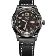 YELANG V1015 upgrade version khaki number tritium gas green luminous men automatic mechanical business watch-leather watchband