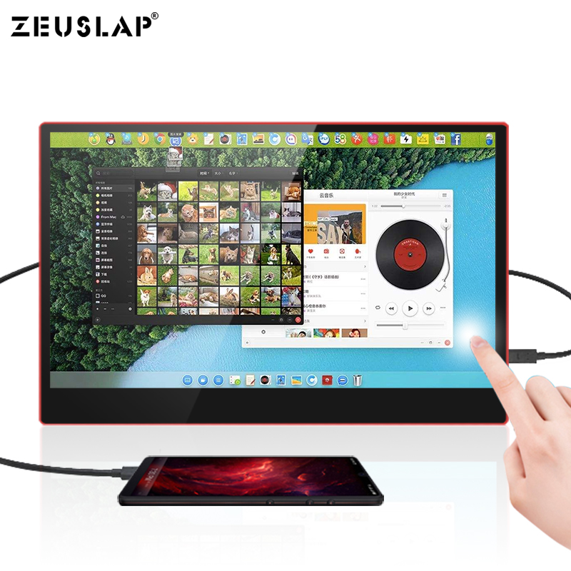 Image 3 - ZEUSLAP USB C HDMI 1080P HDR 10 Ponit Touching Portable Screen Monitor For Gaming Host, Thunderbolt Type C Phone and Laptop-in LCD Monitors from Computer & Office