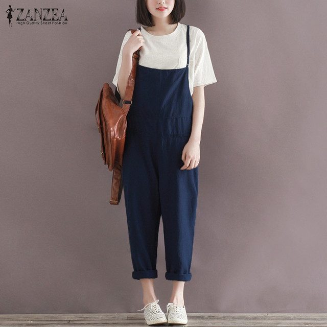f881fb00cb09 Rompers Womens Jumpsuits 2018 ZANZEA Autumn Casual Loose Oversized Solid Playsuits  Strapless Sleeveless Overalls Plus Size