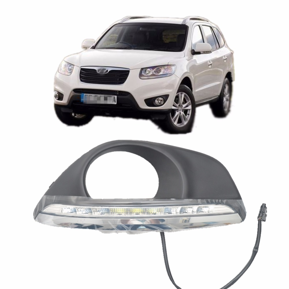 car styling car led light daytime running light for hyundai santa Fe 2010-2012 with fog lamp cover drl