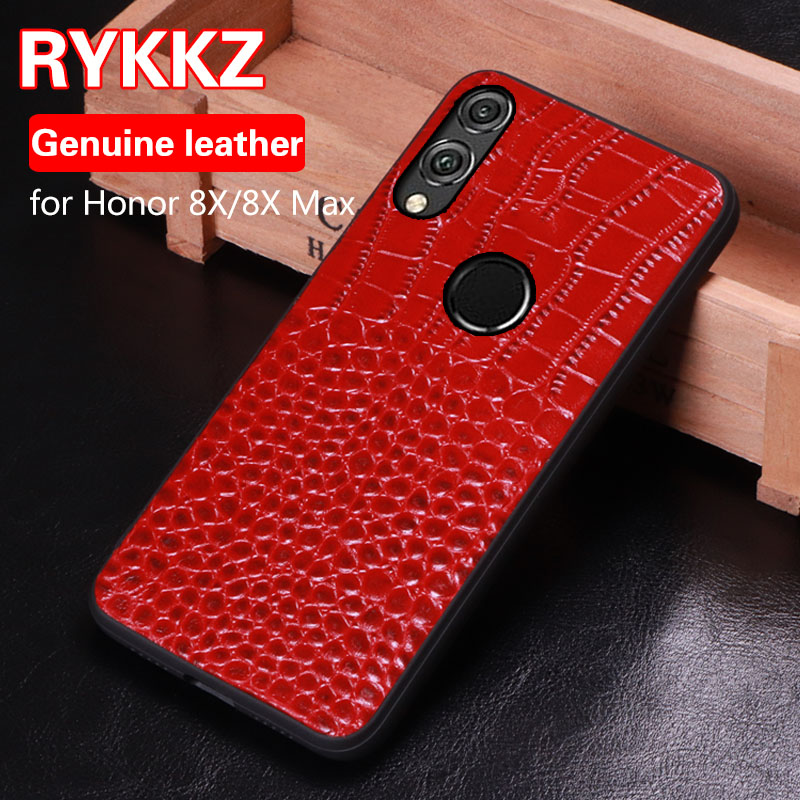 RYKKZ Original Leather Case For Huawei Honor 8X Cover Genuine Luxury Slim Back Max Capas