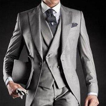 2017 new costume homme Long Gray Black Groom Tuxedos Groomsmen Morning Style Wedding Suits for men Prom Formal Bridegroom Suit