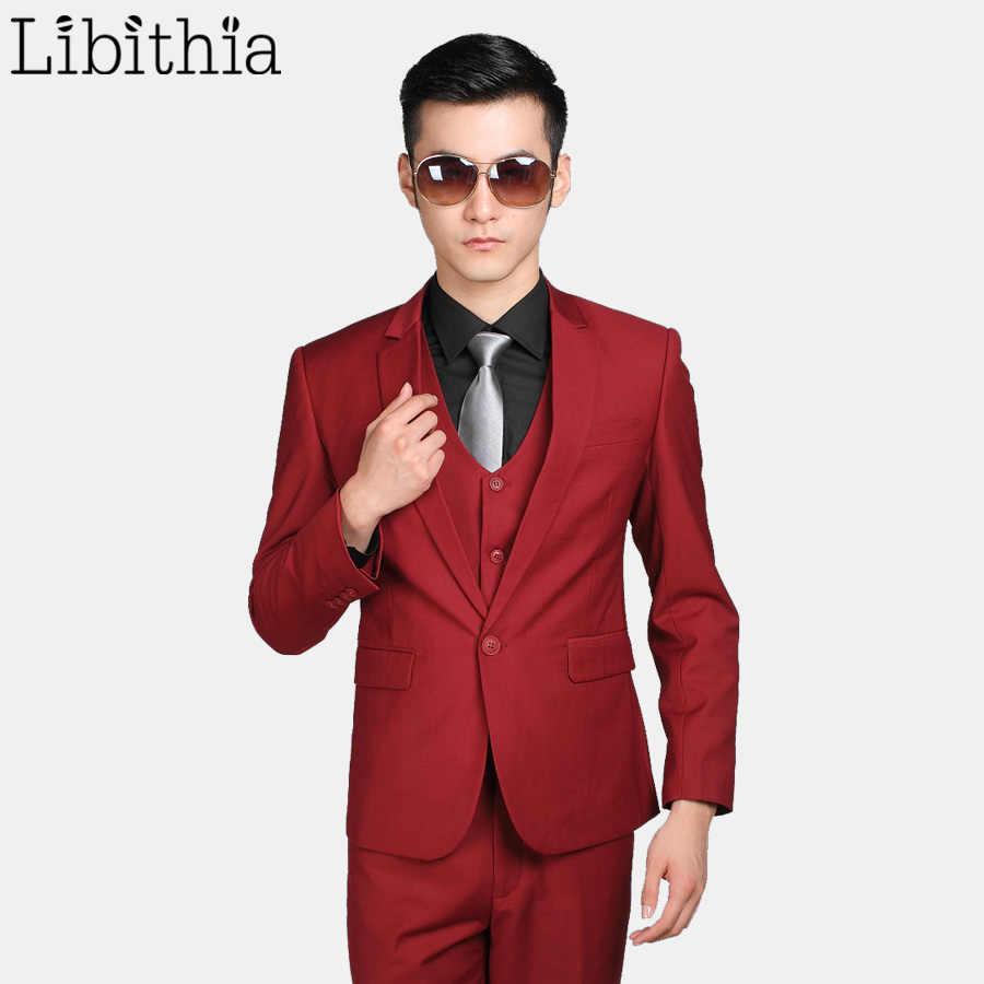 (ジャケット+パンツ+ネクタイ) 12色メンズフォーマルウェディングスーツ衣装オムスリムフィットワンボタン服ブレザーmasculino s309