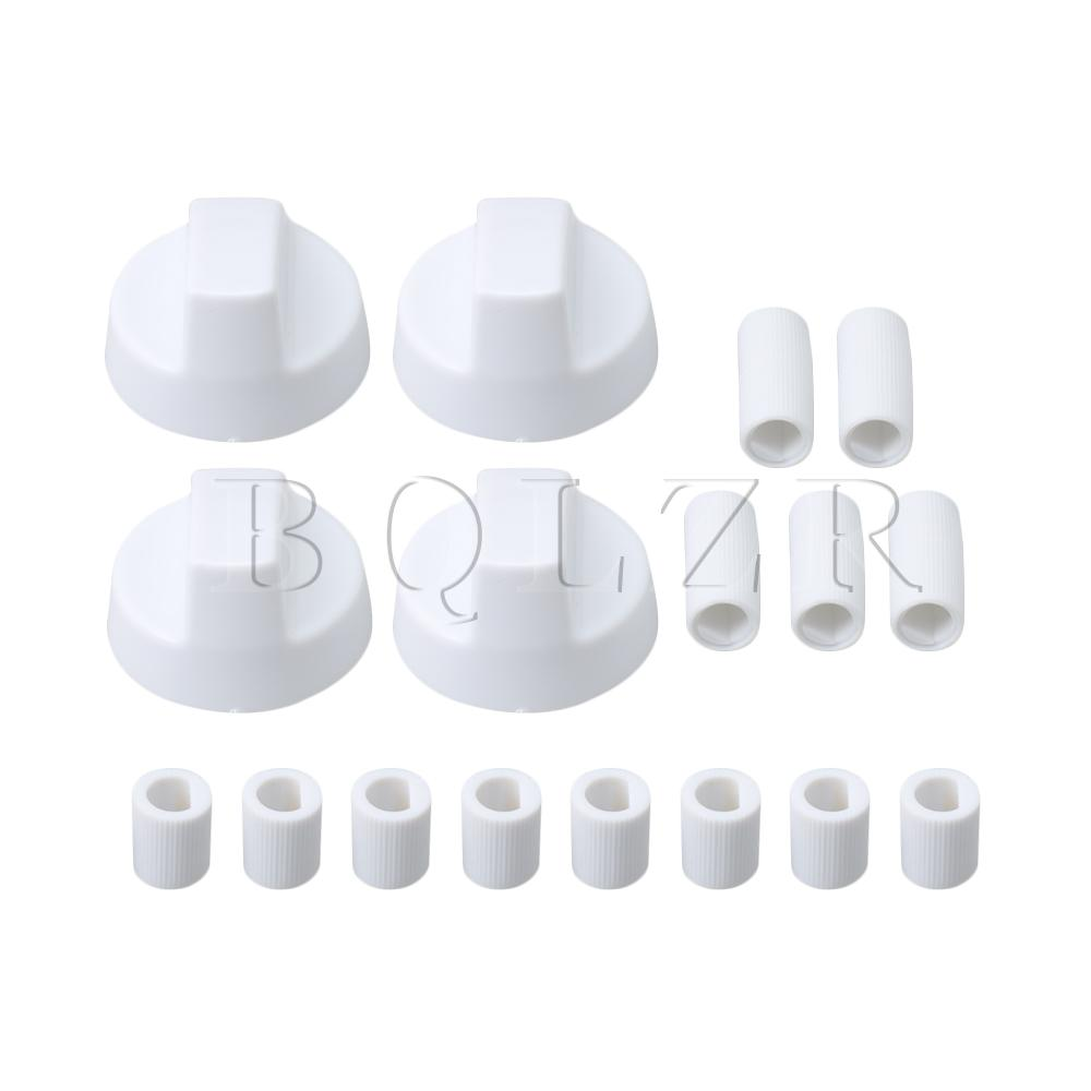 BQLZR 4 Pieces White Generic Design Stove/Oven Control Knob With 12 Adapters