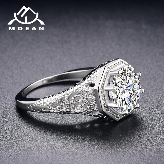 MDEAN White Gold Color Wedding Rings AAA Zircon Jewelry for Women Engagement Femme Bijoux Bague Size 6 7 8 9 10 H003
