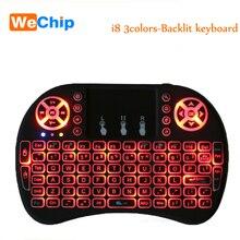 Оригинальный Подсветка i8 Английский 2.4 ГГц Беспроводной клавиатура Air Мышь Сенсорная панель Ручной подсветкой для Android ТВ коробка Мини-ПК 3 цвета