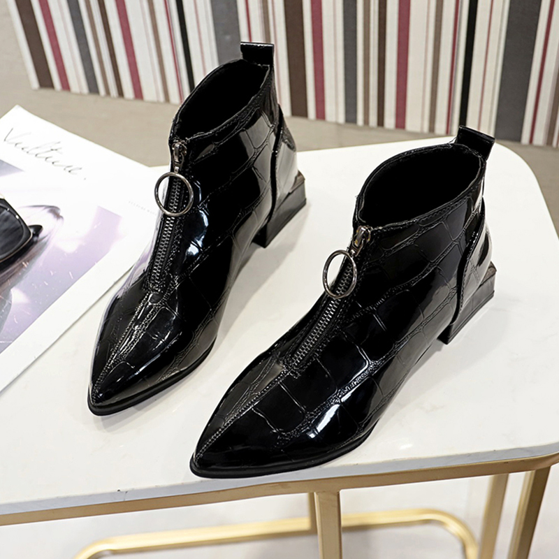 Pointed Toes Boots Women Sexy Low Heel Fashion Punk Ankle Ladies Bling 2019 New Black