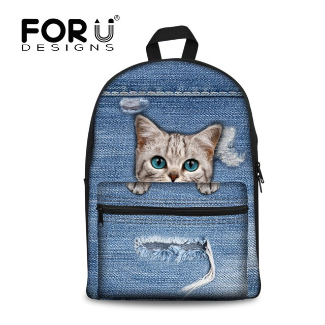 f9bd97624247 FORUDESIGNS Backpack Female 2018 New Denim Cat Preppy Design for Adolescent  Girl Travel School Canvas Rucksack Mochilas mujer