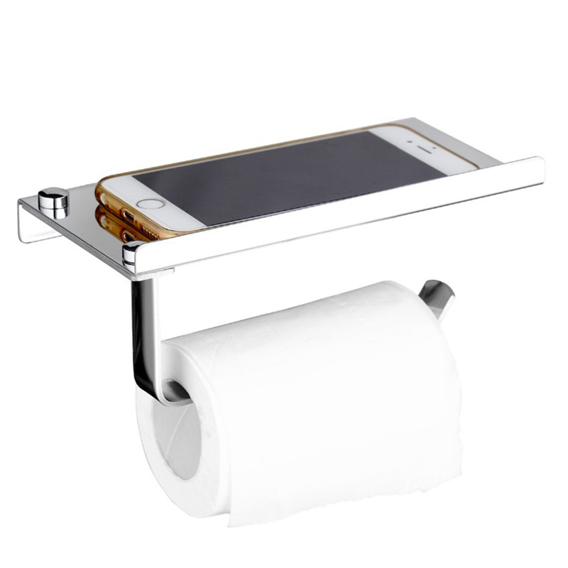Stainless steel roll tissue towel toilet paper holder with phone shelf for kitchen bathr ...