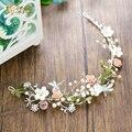 Ручной кристалл лента для волос цветок оголовье жемчужные украшения партии девушки свадебные аксессуары невесты головной убор Подарки лоб lr06