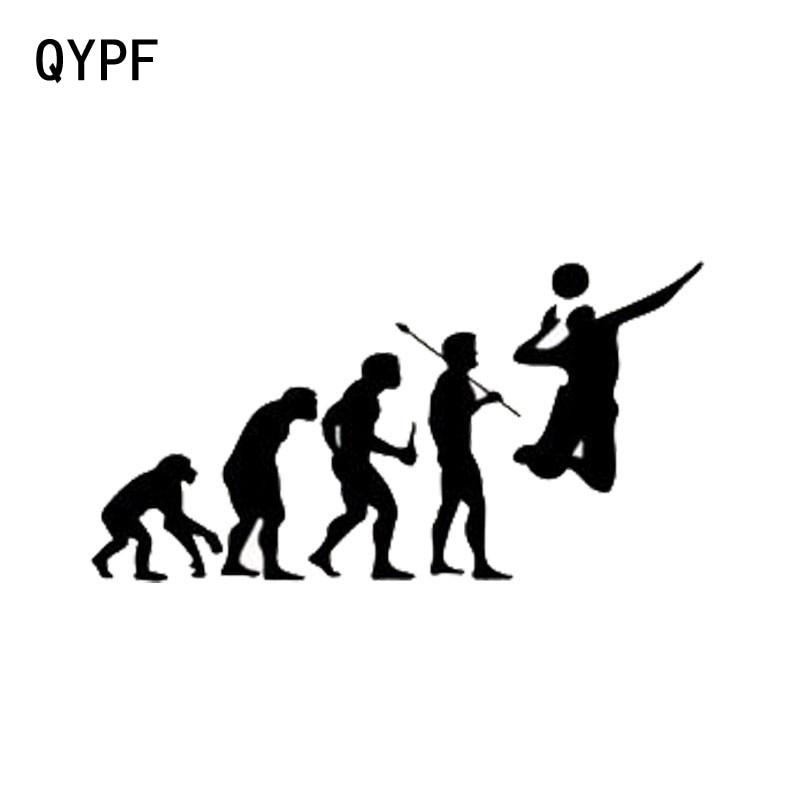 QYPF 15.2 см*7.9 см автомобиля форма эволюции спорта, играть в волейбол наклейки С2-0167