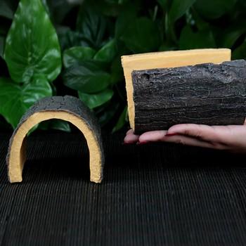 Emulational Arched Half Tree Shell Reptile Hide Rest Cave Pet Habitat Ornament Decoration 1