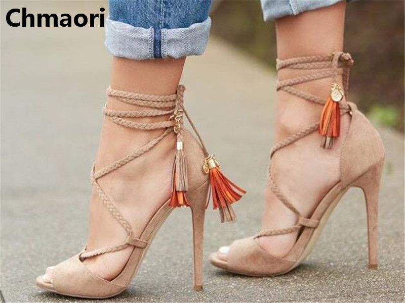 2018 hot sell fashion peep toe cross-tied cover heel thin heel sexy beige easy to match ankle short summer sandals