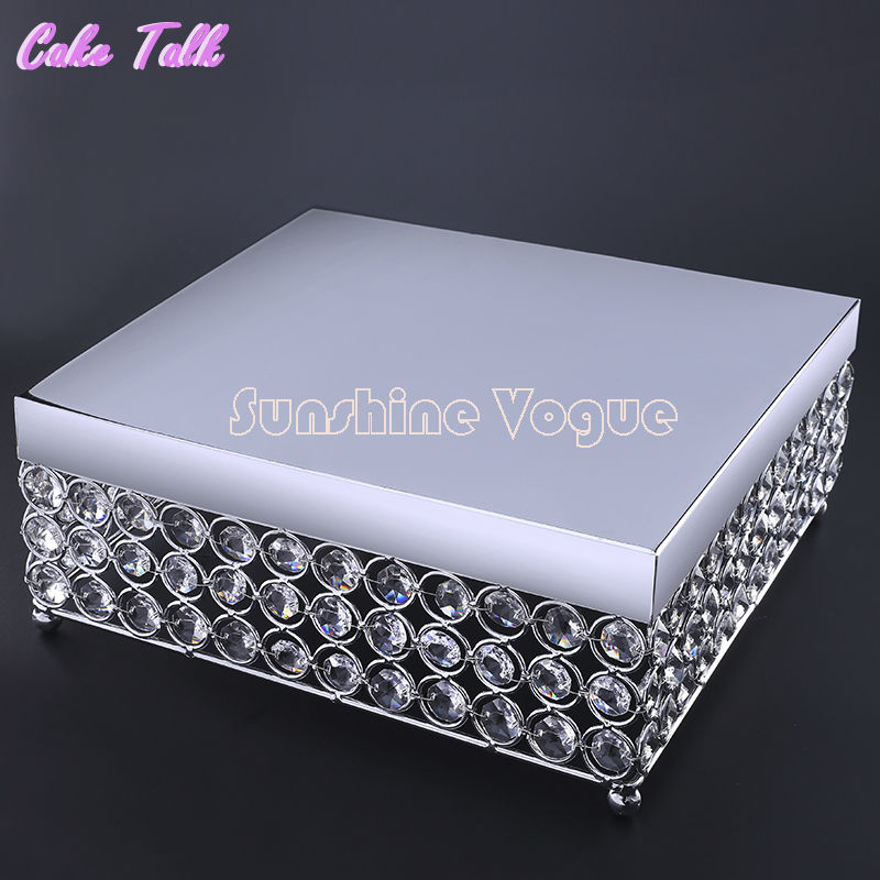 square cake stand 25cm silver display stand cake tool crystal beads cake holder wedding party cake