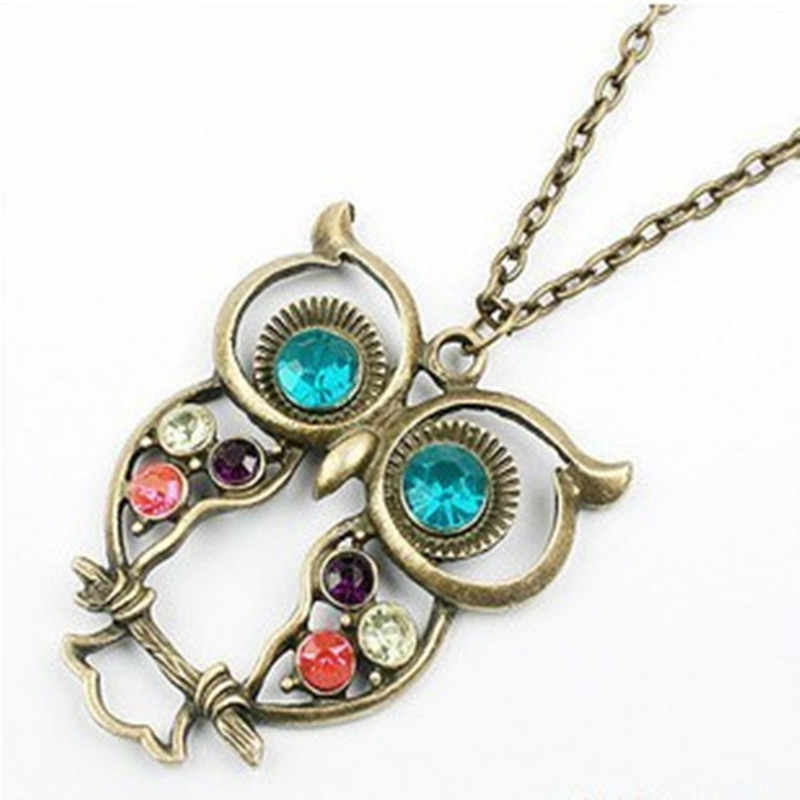 2017 New Retro Vintage Color Necklace Block Drill Hollowing Carved Cute Owl Pendant Necklace Jewelry Gift