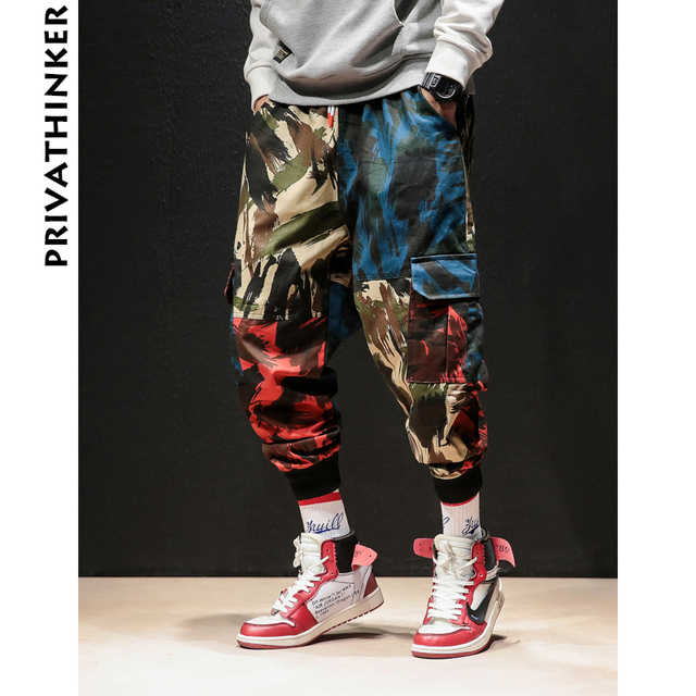 Privathinker INS Camouflage Männer Cargo Hosen 2020 Hip Hop Streetwear Mann Jogger Hosen Japanischen Männlichen Casual Jogginghose Plus Größe