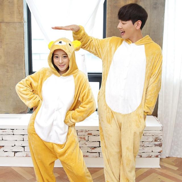 Unisex Onesies Flannel Pajamas Flannel Suit Adult Animal Cartoon Cup Bear Pajamas  Women and Men Cute Cartoon House Pajama 86649acea