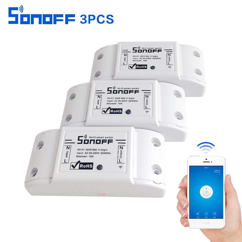 Sonoff Smart Home Automation Module Drahtlose Wifi Schalter Relais IOS Android diy Drahtlose Fernbedienung itead dc90-250v 10a 3 stücke