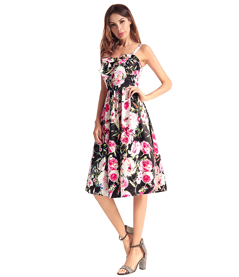 Enthusiastic Newest Summer Women European American Large Swing Pleating Vintage A-line Floral Spaghetti Strap Dress Xhws-047 Women's Clothing