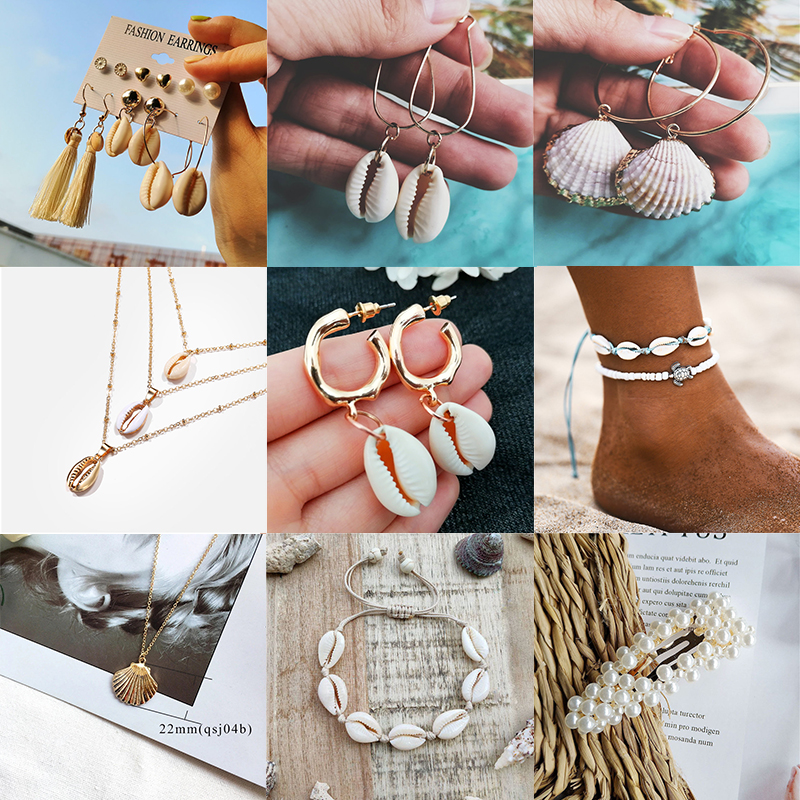You-Sea-Shell-Earrings Shell-Cowrie-Statement Beach-Jewelry Metal Gold-Color Trendy Women