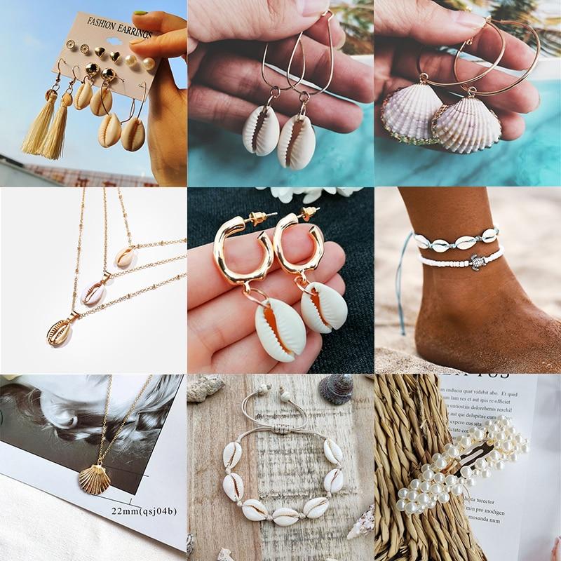 Pearl Sea Shell Earrings For Women Gold Color Trendy Metal Shell Cowrie Statement Dangle Earrings 2019 New Summer Beach Jewelry
