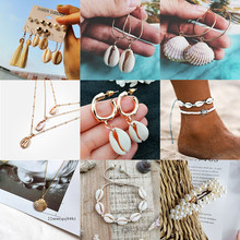 Pearl Sea Shell Earrings For Women Gold Color Trendy Metal Shell Cowrie Statement Dangle Earrings 2019 New Summer Beach Jewelry(China)