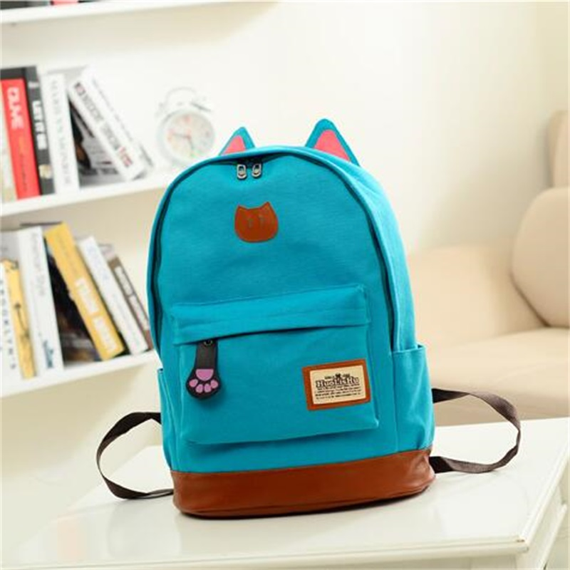 Vintage Women Canvas Backpack for Teenage Girls School Bags Cartoon Cat Backpack Female Travel Bag mochila rucksack daypack ostin джинсы skinny fit с потёртостями page 8