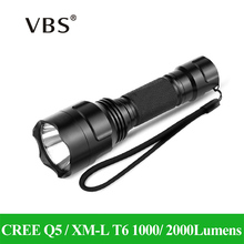 LED Flashlight CREE Q5 / XM-L T6 1000lm / 2000Lumens Torch zaklamp Light No 1x18650 battery 5 Modes High Middle Low Strobe SOS