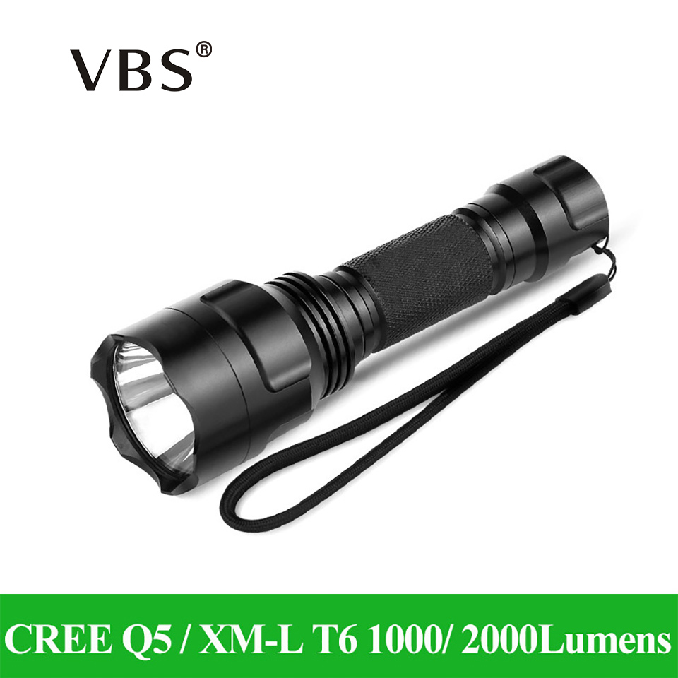 LED Flashlight CREE Q5 / XM-L T6 1000lm / 2000Lumens Torch zaklamp Light No 1x18650 battery 5 Modes High Middle Low Strobe SOS c8 cree xm l t6 led tactical flashlight 2000 lumens lanterna 1 18650 battery charger pressure switch