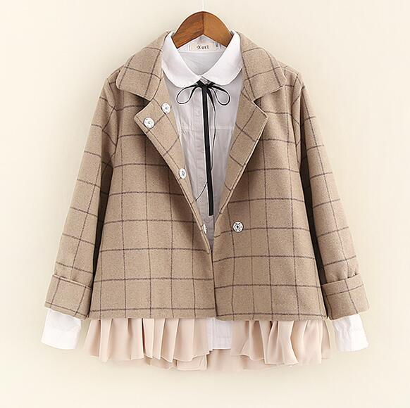 ruffled patchwork plaid Turn-down collar Wool jacket  long sleeve  coat winter new arrival autumn