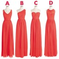 Real Photo 2015 Mismatch Long Coral Colored Bridesmaid Dresses Chiffon Cheap Elegant Adult Party Dresses Vestido De Renda