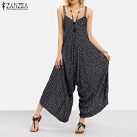 2018 ZANZEA Rompertjes Womens Gestreepte Jumpsuit Zomer Mode Lange Playsuit Casual Losse Sexy V-hals Backless Overalls Plus Size