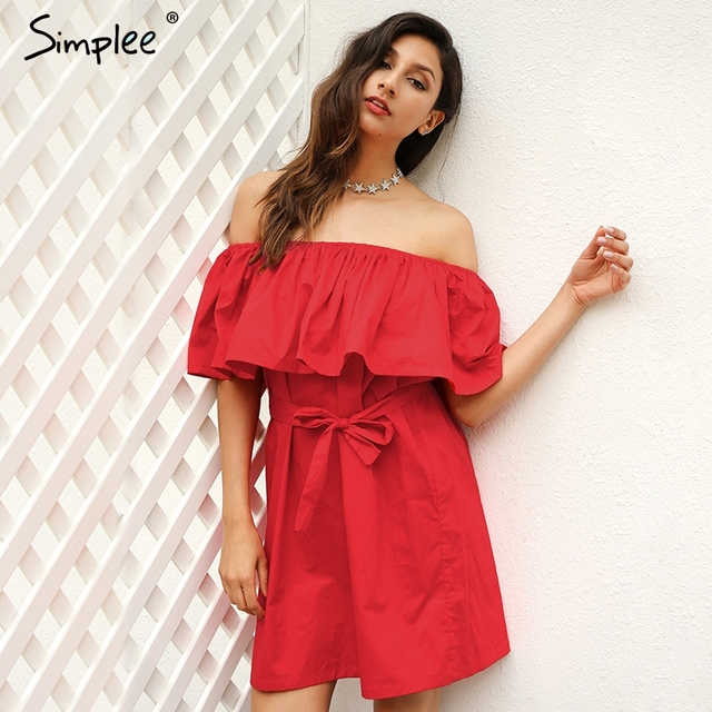 Simplee Ruffles off shoulder summer dress Women streetwear sleeveless short dress White sexy vestidos tube beach red dresses