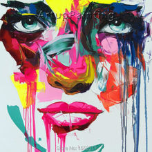Palette knife painting portrait Face Oil Impasto figure on canvas Hand painted Francoise Nielly 16-29