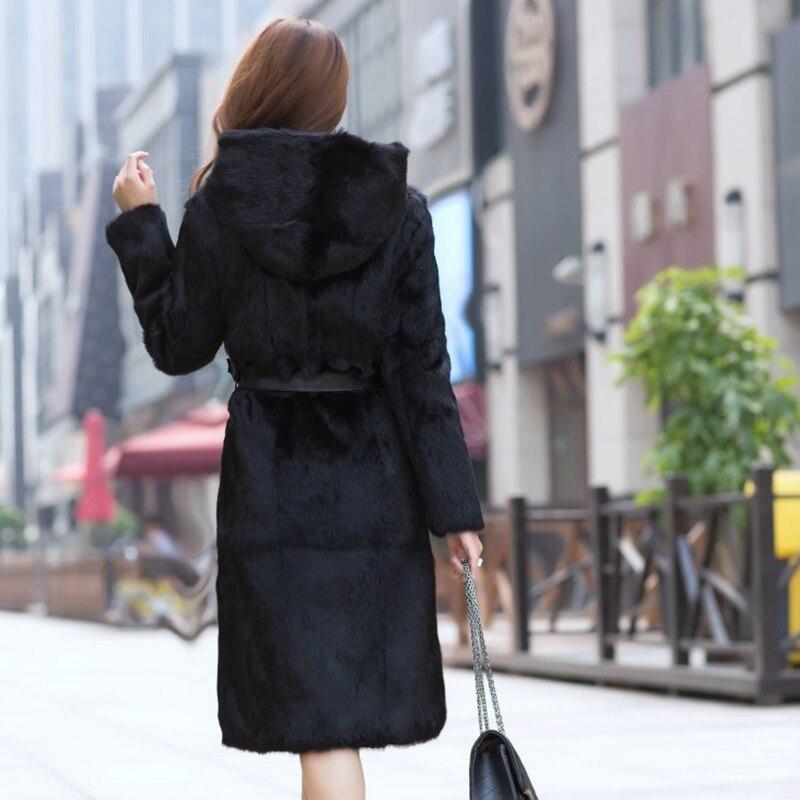 Veste De Lapin Automne Cm 150 Fourrure Capuche Manteaux Longueur Survêtement Femmes 100 La Taille Avec Manteau Hiver Trench Noir Plus Tfm tftrnz5