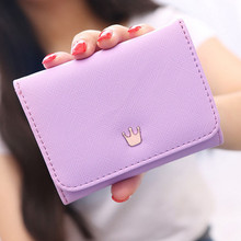Wallet Women Lady Short Women Wallets Crown Decorated Mini Money Purses Small Fold PU Leather Female Coin Purse Card Holder 172 leftside designer pu leather women cute short money wallets with zipper female small wallet lady coin purse card wallet purses