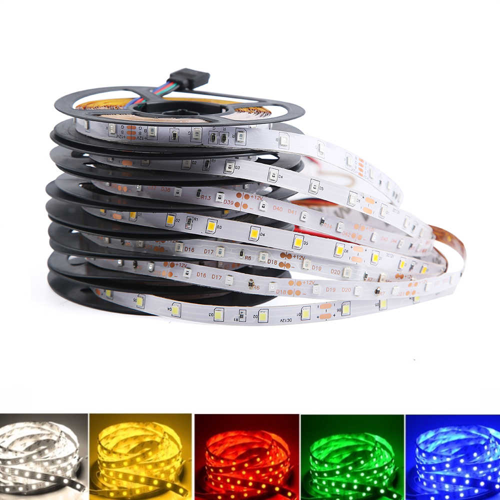 DC 12 V Volt LED Strip Tape 2835 RGB Tahan Air 1-5 M 12 V DC 60LED/ M RGB LED Strip Pita Lampu Diode Fleksibel TV Backlight