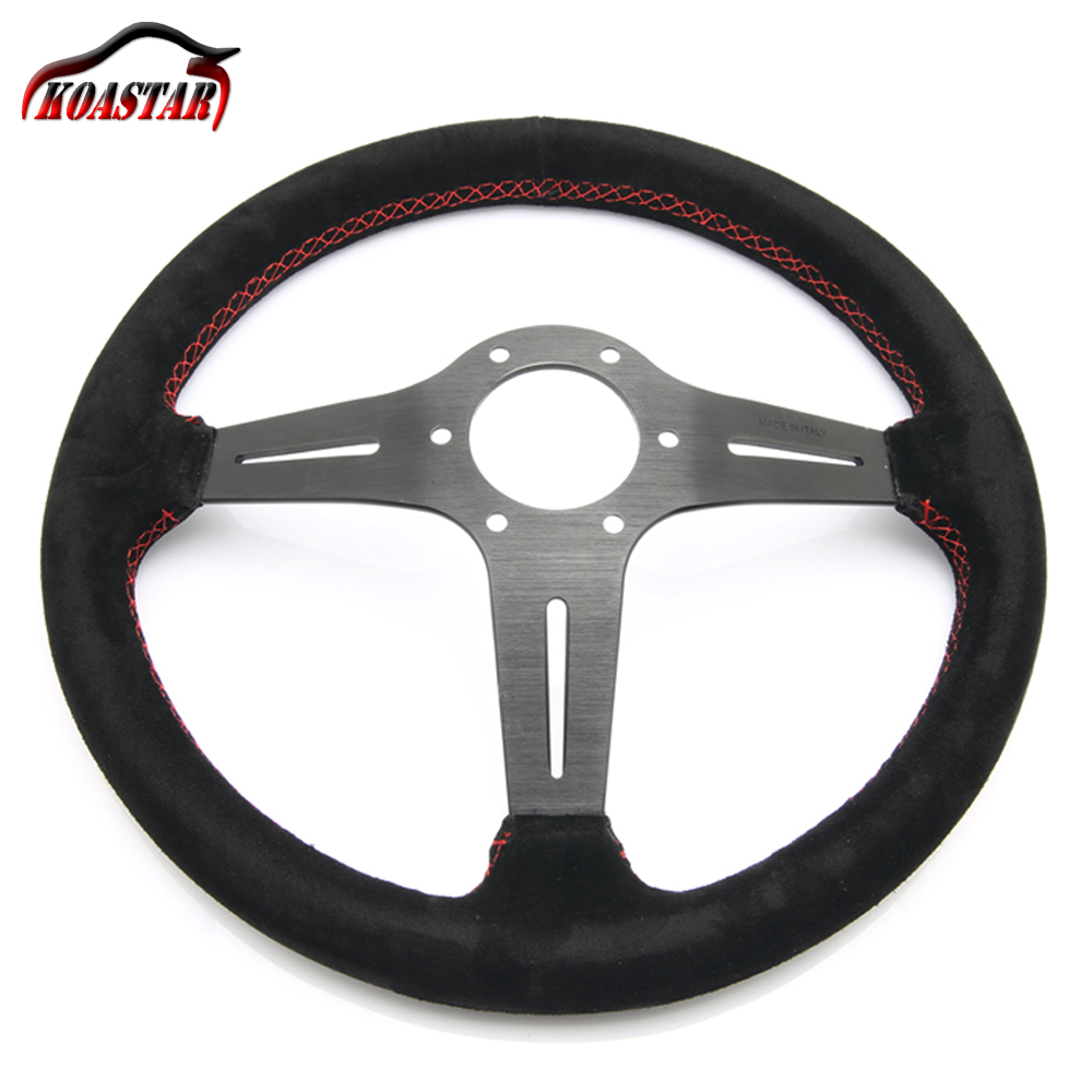 leather steering wheel 14 inch 350mm aluminum steering wheels deep corn Black spoke red Stitching Italy