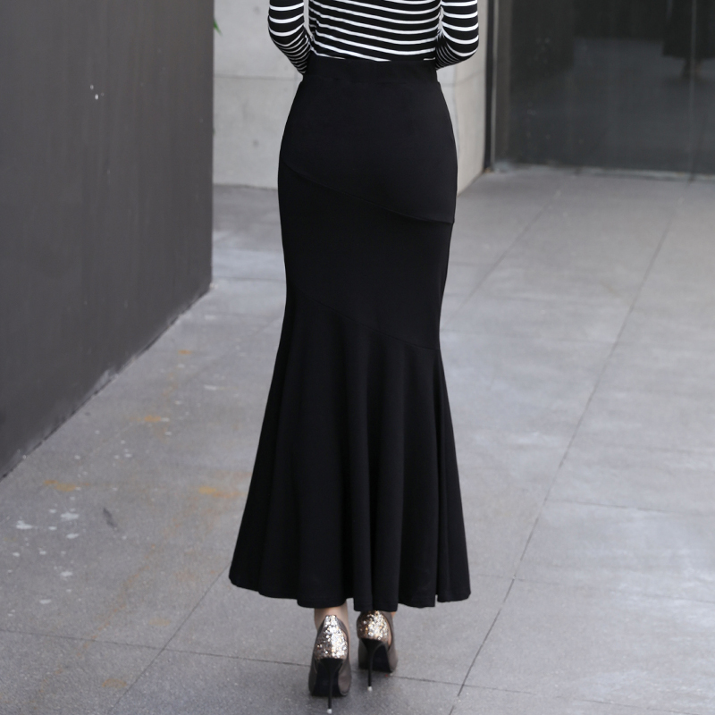 6b26e5cdbb Winter Long Skirt Women Black Maxi Skirt Autumn Solid Color Ankle Length Mermaid  Skirts OL Workwear Female 2327LY-in Skirts from Women's Clothing on ...